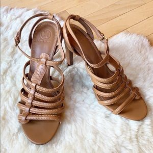 TORY BURCH heels size 11 leather brown strappy